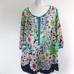 JOHNY WAS | 100 % SILK | FLORAL PRINT | TOP